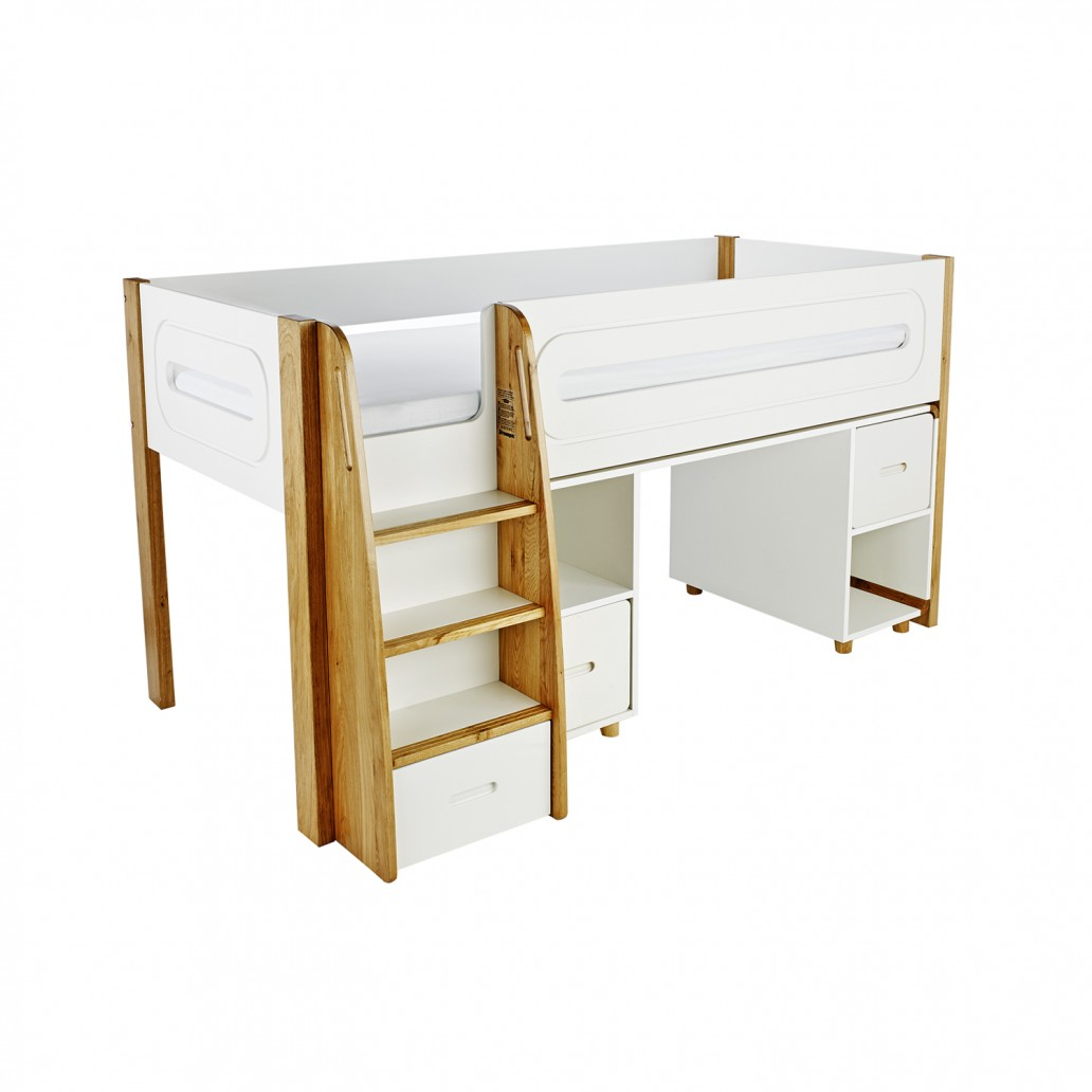 Stompa Curve Deluxe Midsleeper and Desk With 2 Doors White