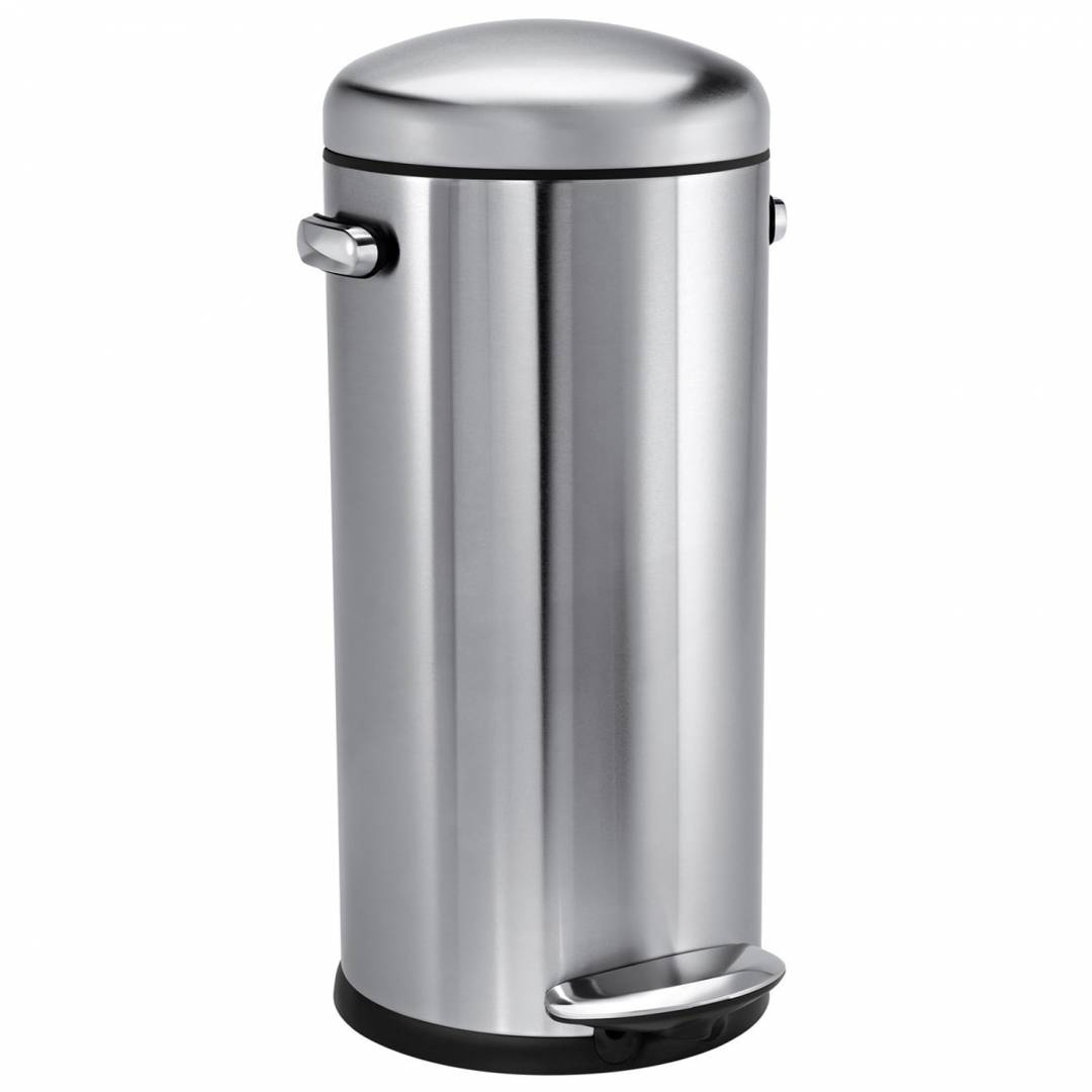 Simple Human 30L Retro Pedal Bin Brushed Steel