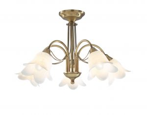 Dar Doublet 5 Light Semi-Flush Antique Brass