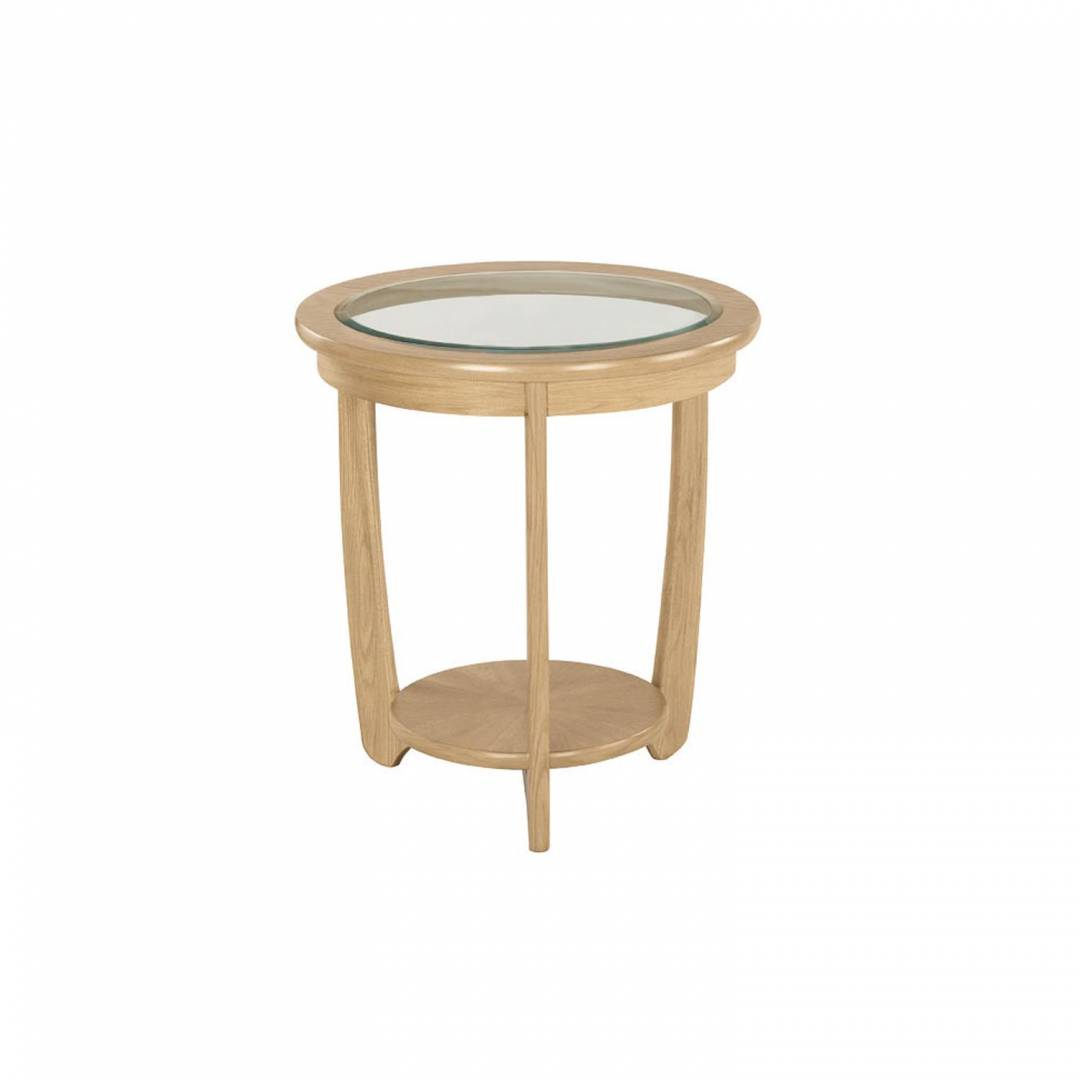 Shades Oak Glass Top Round Lamp Table