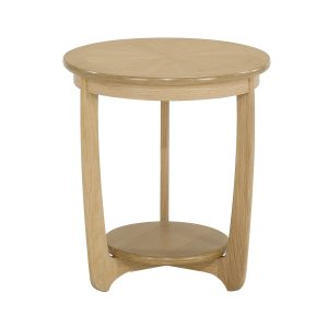 Shades Oak Sunburst Top Round Lamp Table