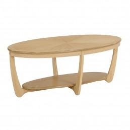 Shades Oak Sunburst Top Oval Coffee Table
