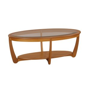 Shades Teak Glass Top Oval Coffee Table