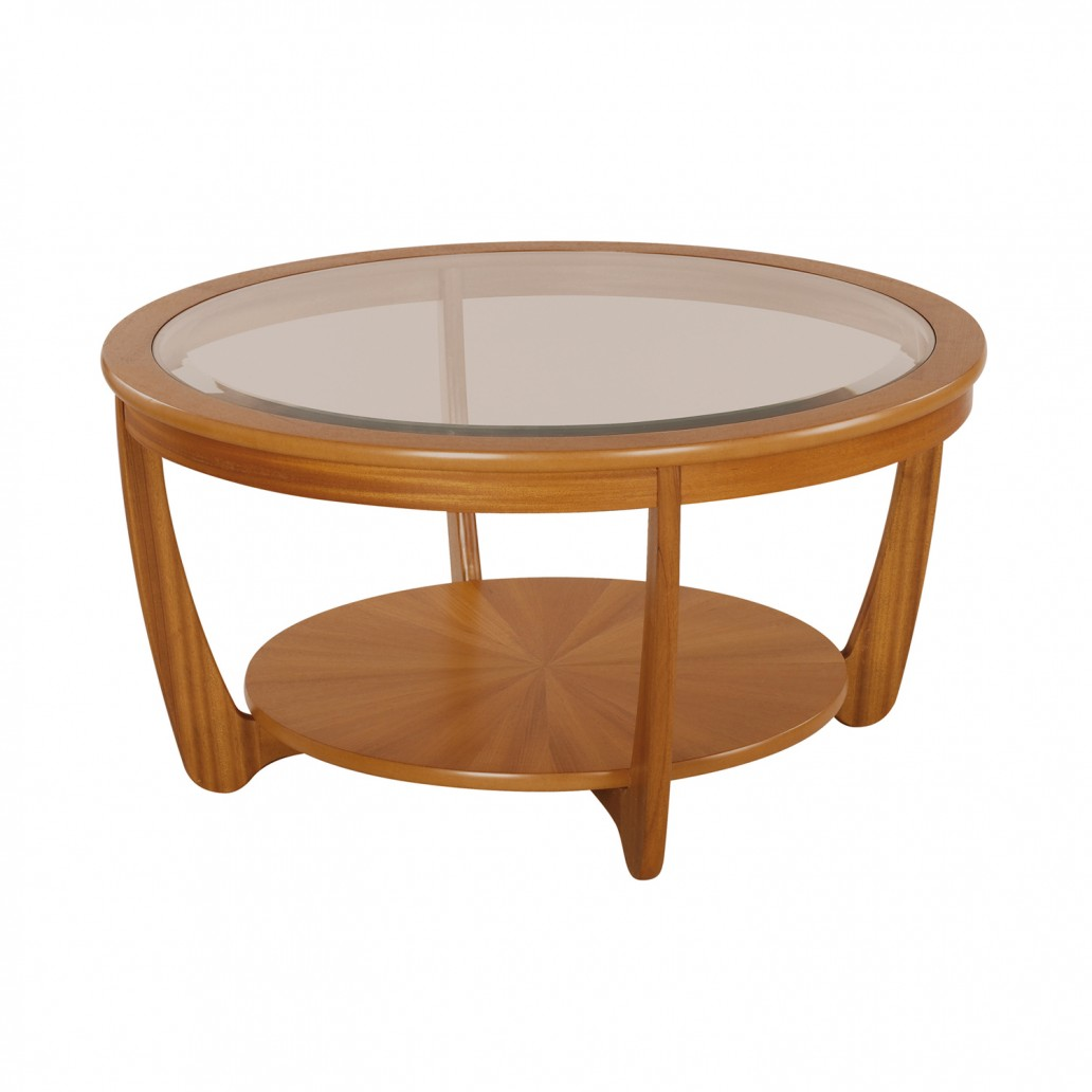 Shades Teak Glass Top Round Coffee Table