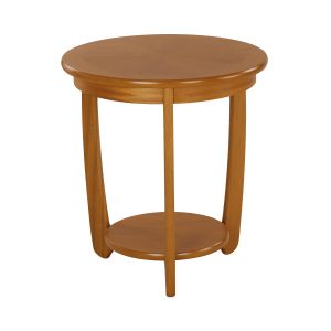 Shades Teak Sunburst Top Round Lamp Table