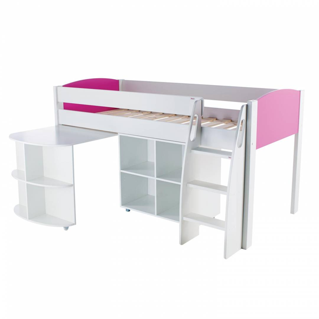 Stompa Duo Uno S Midsleeper with Desk & Cube Unit Pink