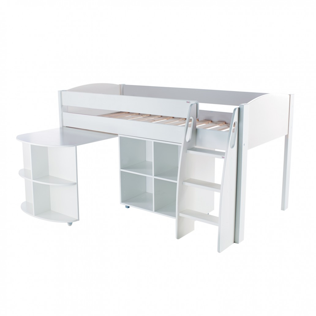 Stompa Duo Uno S Midsleeper Including Pull Out Desk And Cube Unit White – No Doors