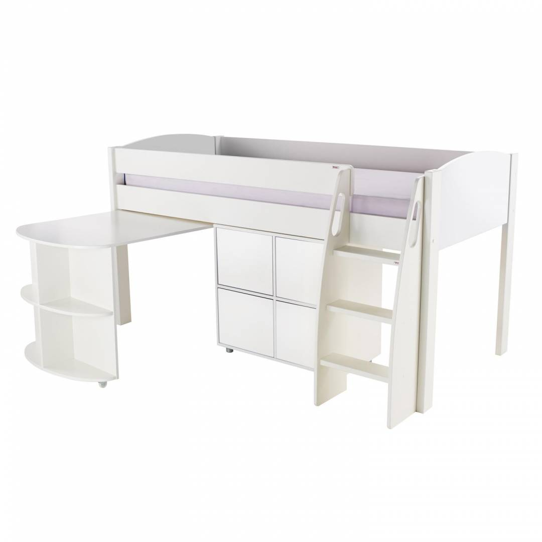Stompa Duo Uno S Midsleeper with Desk & Cube Unit White