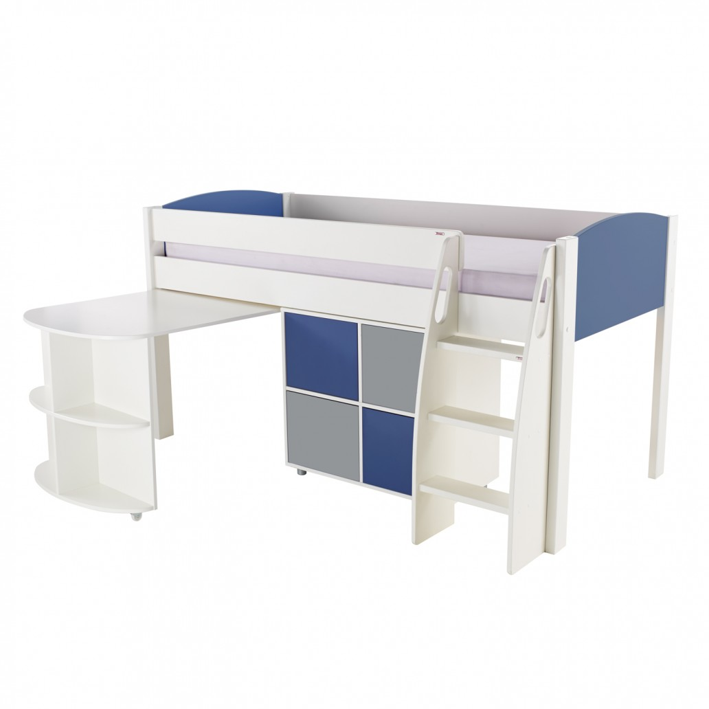 Stompa Duo Uno S Midsleeper Including Pull Out Desk And Cube Unit Blue – Blue & Grey Doors