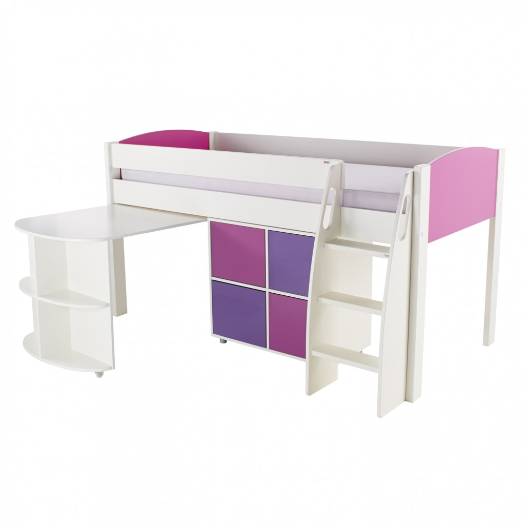 Stompa Duo Uno S Midsleeper With Desk & Cube Unit Pink –  Purple