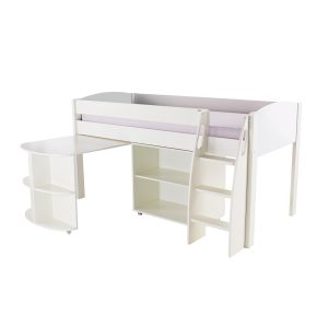 Stompa Duo Uno S Midsleeper With Desk & Bookcase White