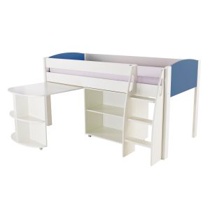 Stompa Duo Uno S Midsleeper with Desk & Bookcase Blue