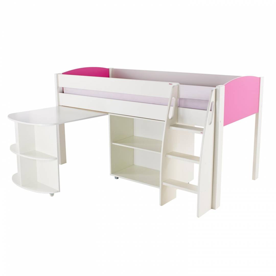 Stompa Duo Uno S Midsleeper With Desk & Bookcase Pink