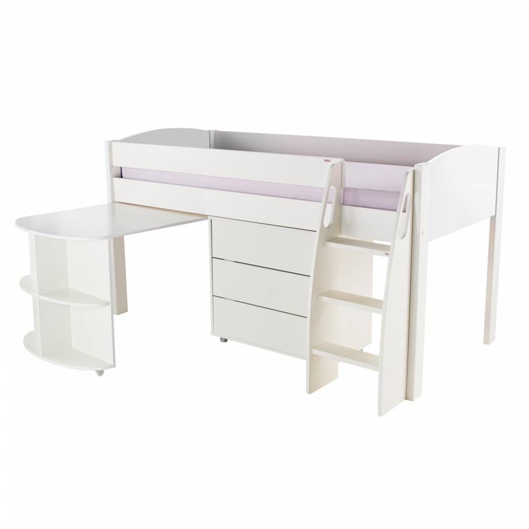 Stompa Duo Uno S Midsleeper with Desk & Drawers White
