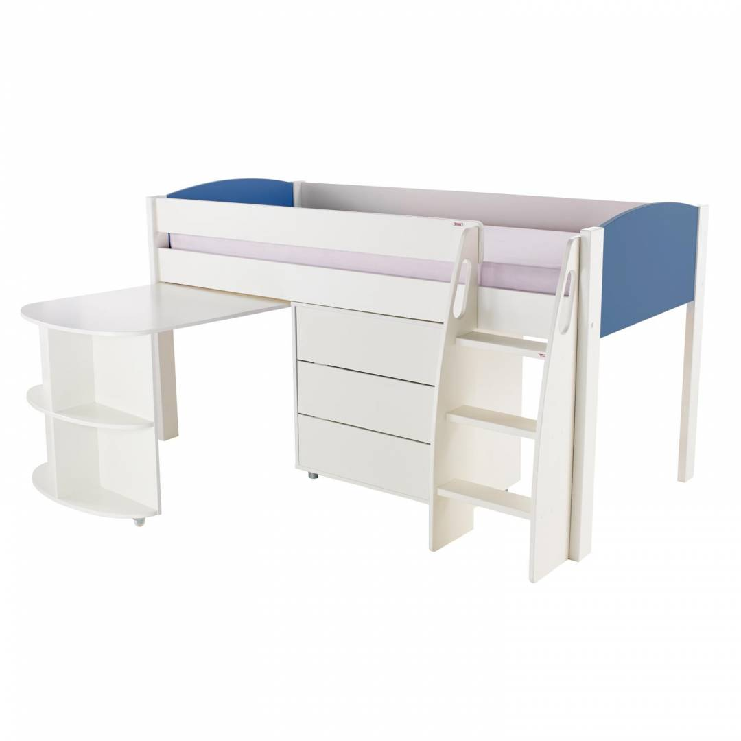 Stompa Duo Uno S Midsleeper With Desk & Drawers Blue