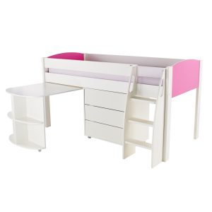 Stompa Duo Uno S Midsleeeper with Desk & Drawers Pink