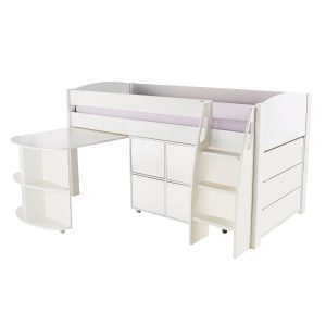 Stompa Duo Uno S Midsleeper Inc Pull Out Desk & Chest Of Drawers And Cube Unit White