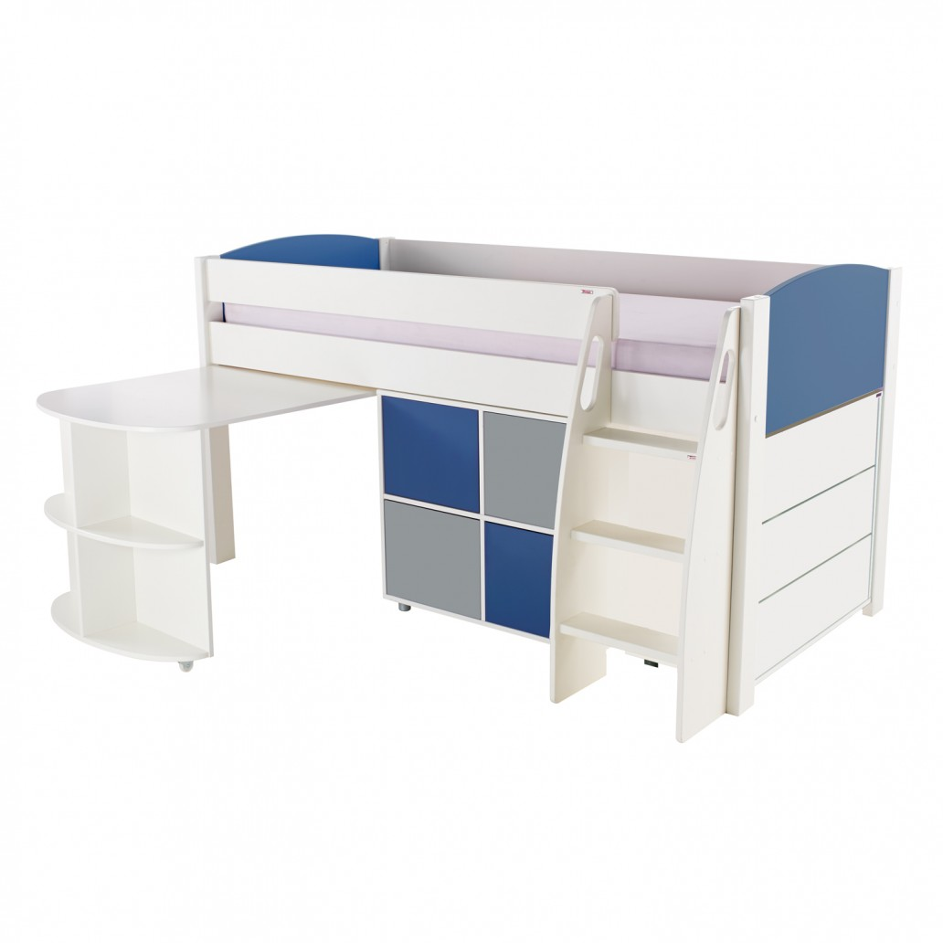 Stompa Duo Uno S Midsleeper With Desk, Cube Unit & Drawers Blue