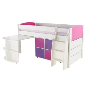 Stompa Duo Uno S Midsleeper Inc Pull Out Desk & Cube Unit & Chest Of Drawers Pink