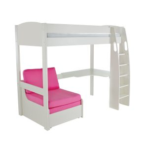 Stompa Duo Uno S Highsleeper White Including Desk And Chair Bed Pink