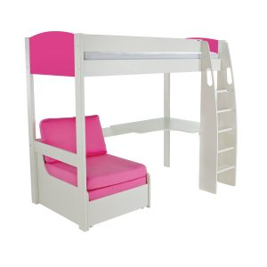 Stompa Duo Uno S Highsleeper Pink Including Desk And Chair Bed Pink