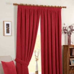 Chenille Spot Readymade Curtains Red