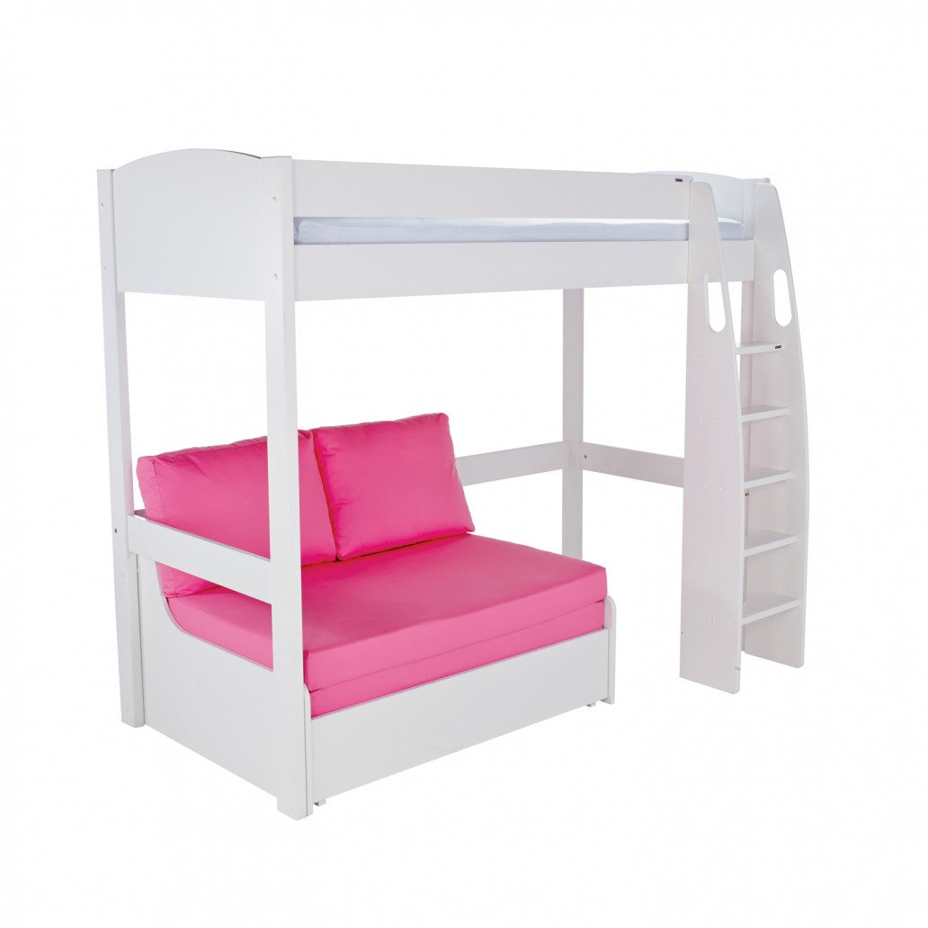 Stompa Duo Uno S Highsleeper Frame With Pink Double Sofa Bed White