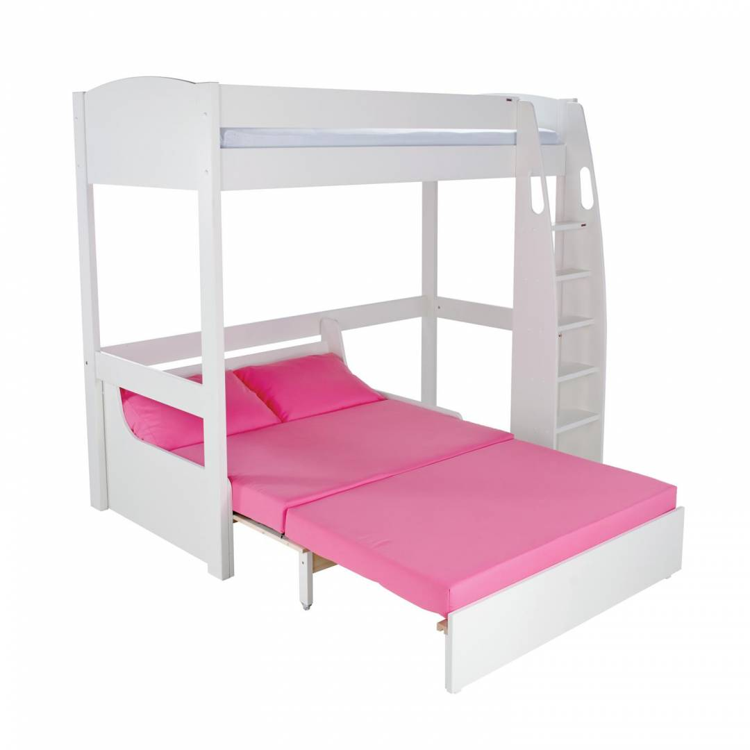 1bbaa5e8dc45 Stompa Duo Uno S Highsleeper Frame With Pink Double Sofa Bed White ...