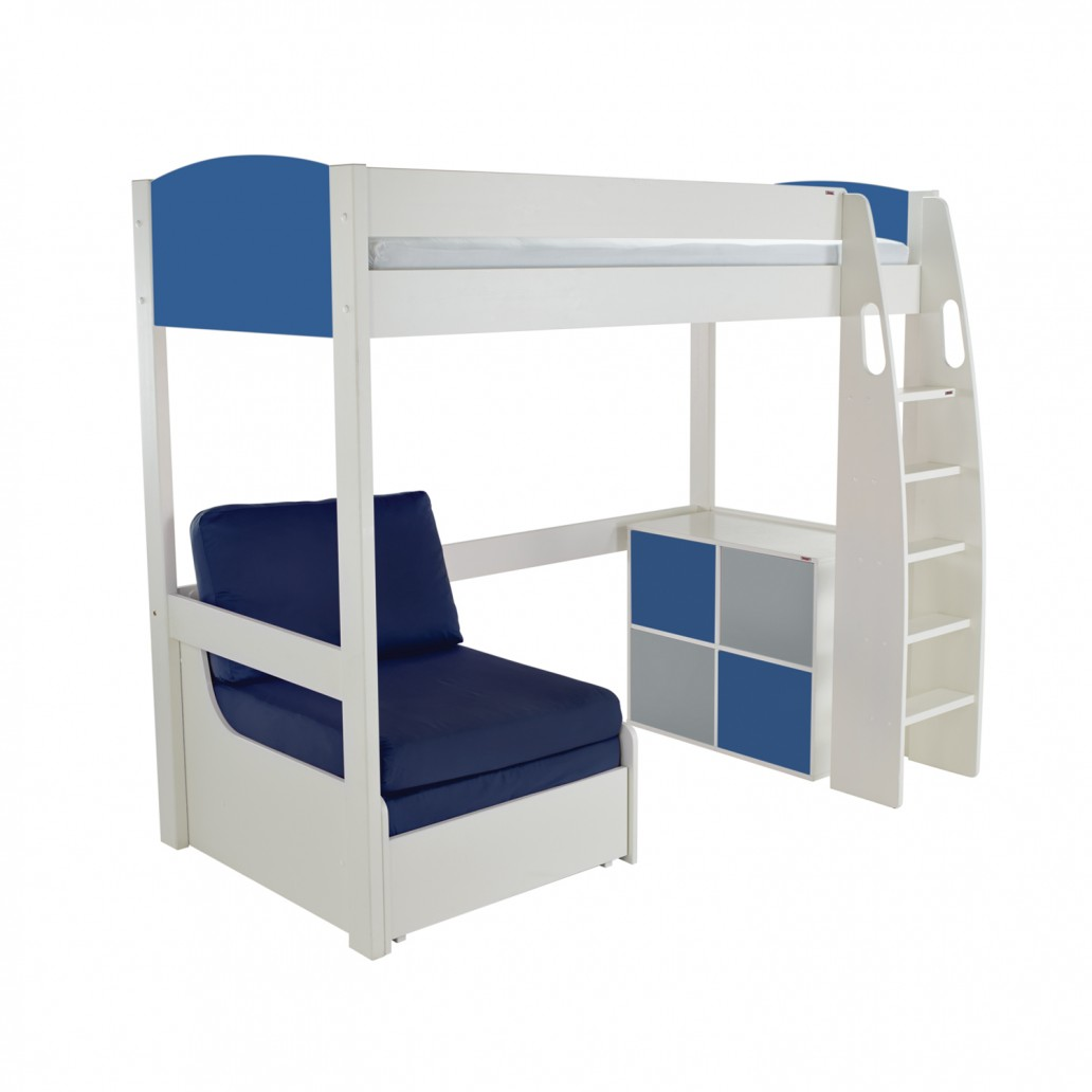 Stompa Duo Uno S Highsleeper With Chair Bed & Cube Unit Blue