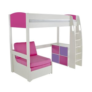 Stompa Duo Uno S Highsleeper With Chair Bed & Cube Unit Pink