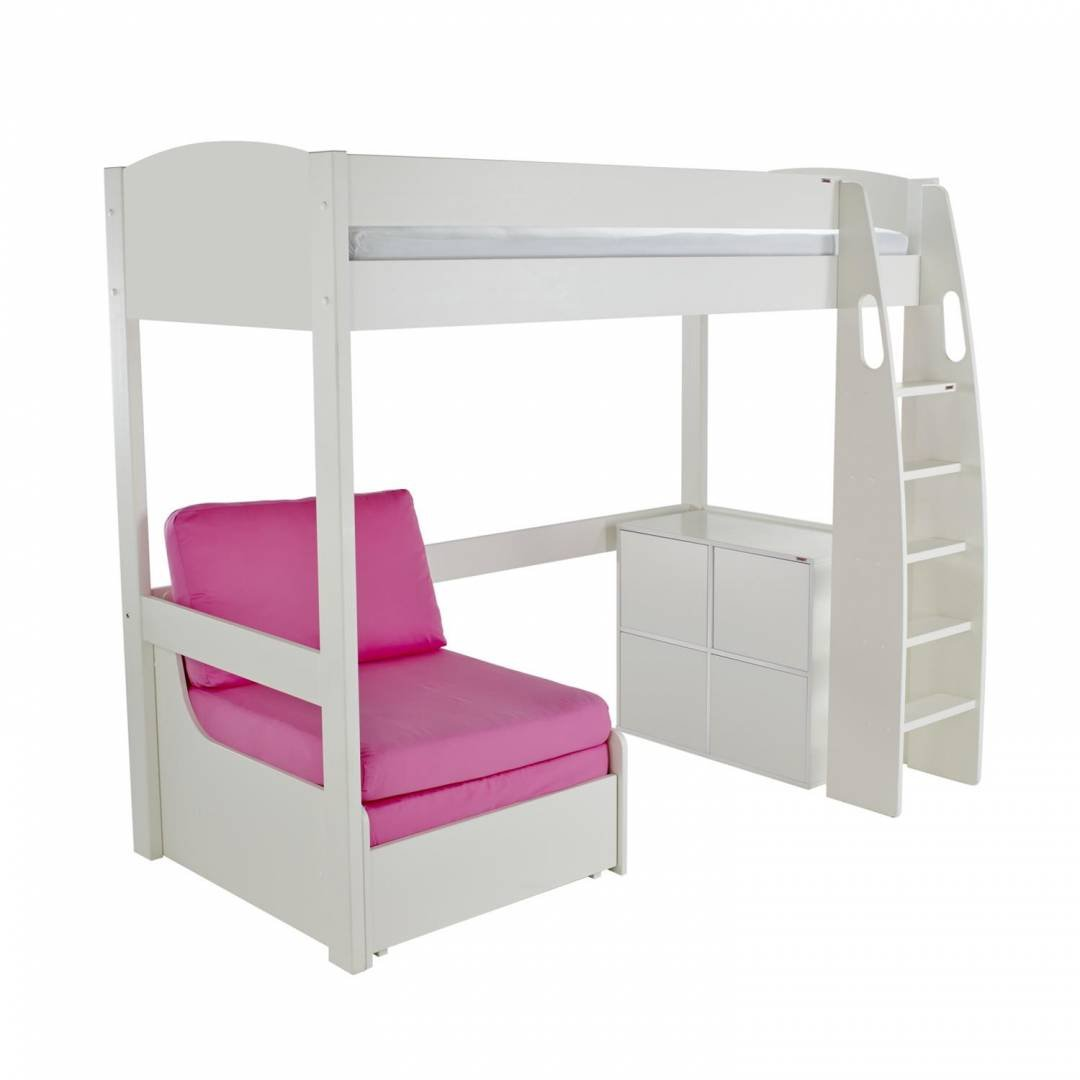 Stompa Duo Uno S Highsleeper With Cube Unit & Chair Bed Pink