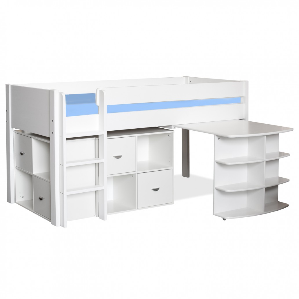 Stompa Midsleeper with Pull Out Desk & 2 Cubes White