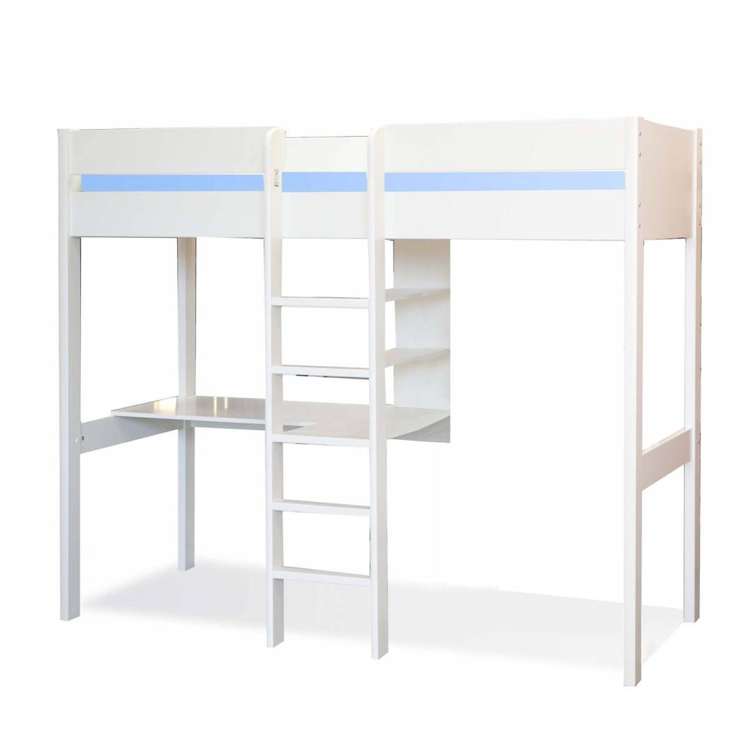 Stompa High Sleeper with Desk & Shelving White
