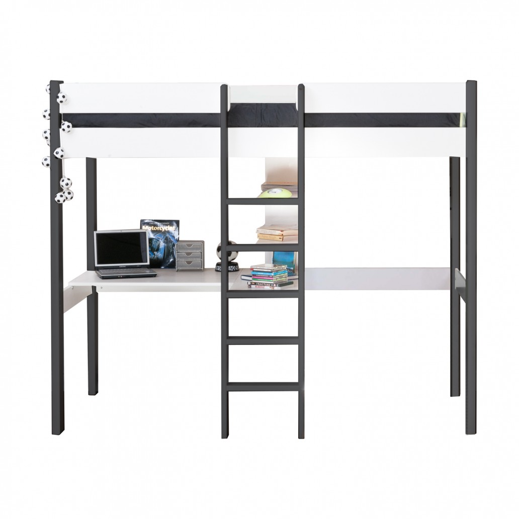 Stompa High Sleeper with Desk & Shelving Nero