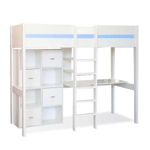 Stompa High Sleeper with Desk & 2 Cubes White