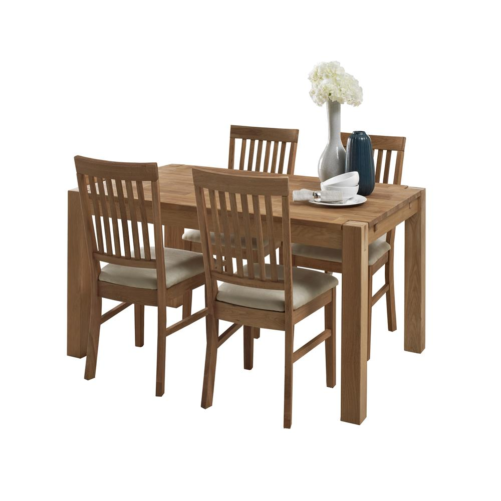 Royale 140cm Table & 4 Slatted Back Dining Chairs