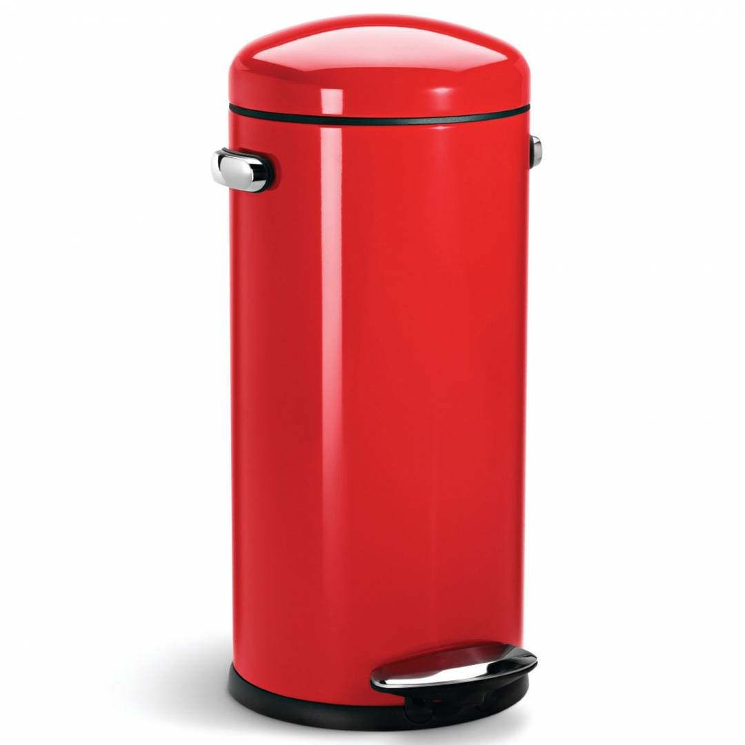 Simple Human 30L Retro Pedal Bin Red