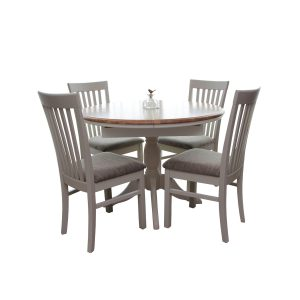 Stag Crompton Round Extending Dining Table and 4 Slat Back Dining Chairs