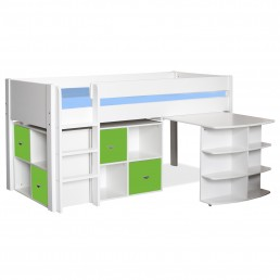 Stompa Midsleeper with Pull Out Desk & 2 Cubes Lime