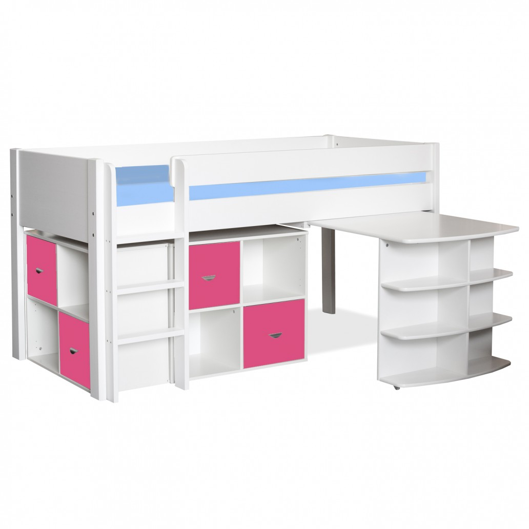 Stompa Midsleeper with Pull Out Desk & 2 Cubes Pink