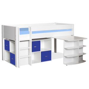 Stompa Midsleeper with Pull Out Desk & 2 Cubes Blue