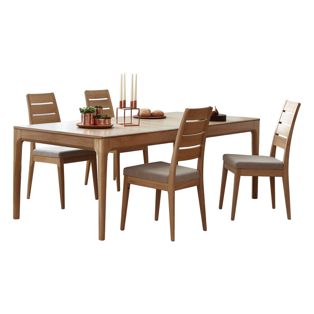 Ercol – Romana – Medium Extending Dining Table with 4 Slatted Chairs