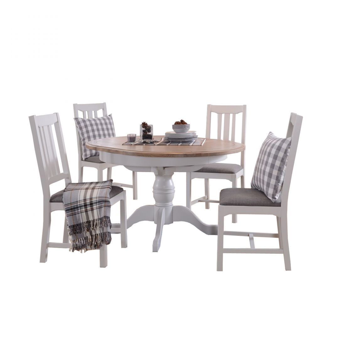Rochelle Round Extending Dining Table & 4 Dining Chairs