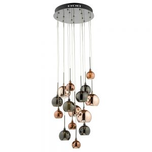 Dar Aurelia 15 Light Pendant Black Chrome