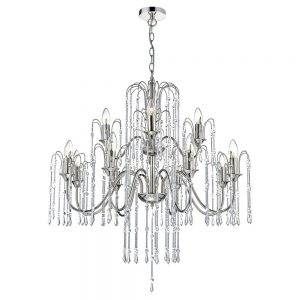 Dar Daniella 12 Light Pendant Polished Nickel