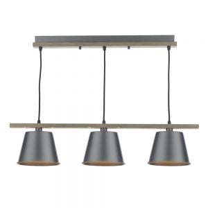 Dar Arken 3 Light Pendant Grey/Wood