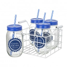 Cool Drink Jars with Lids Set of 4