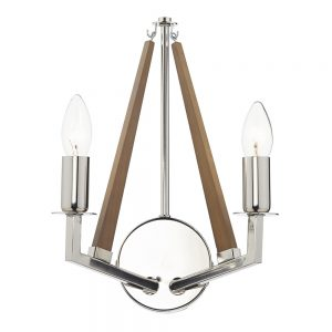 Dar Hotel 2 Light Wall Light Nickel/Wood