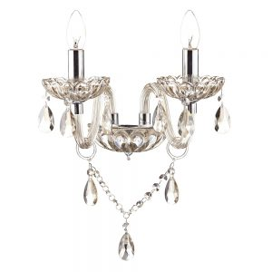 Dar Raphael 2 Light Wall Light Polished Chrome