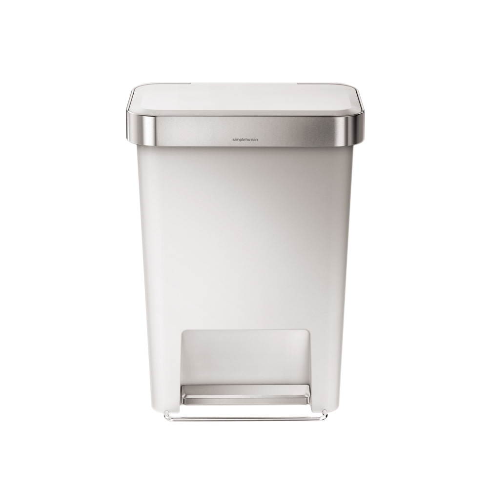 Simple Human 45L Rectangle Pedal Bin White